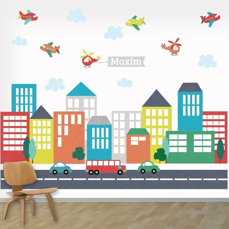 Daring Walls Muursticker XL met naam City Line Multi