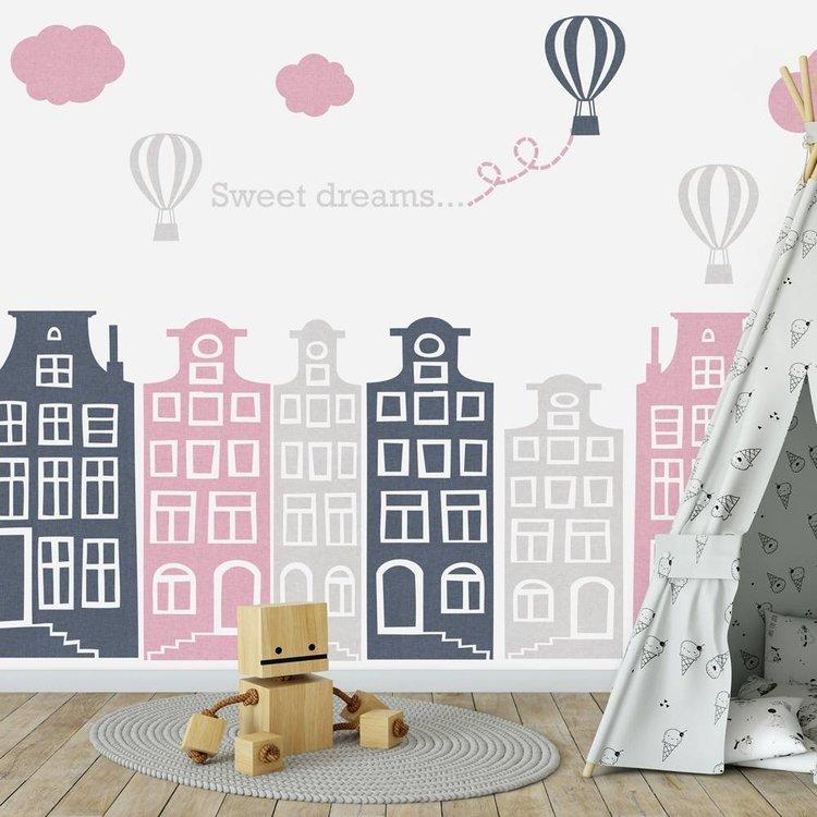Daring Walls Muursticker Huisjes en luchtballonnen roze - grijs