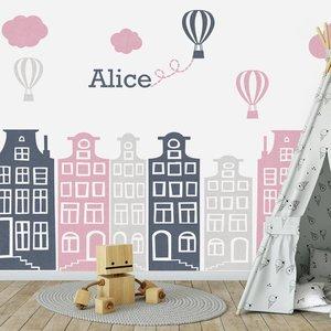 Daring Walls Muursticker Huisjes en luchtballonnen roze - grijs, met naam