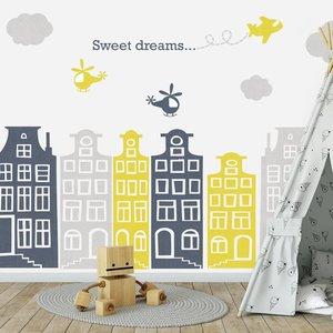 Daring Walls Muursticker Huisjes en vliegtuigjes grijs - geel