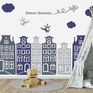 Daring Walls Muursticker Huisjes en vliegtuigen grijs - blauw