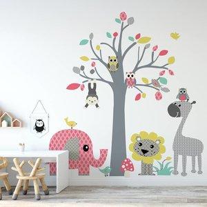 Daring Walls Muursticker Boom safari pink