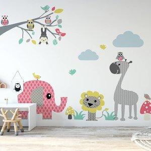 Daring Walls Muursticker tak Safari XL - pink