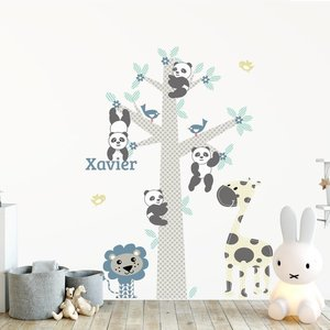 Daring Walls Muursticker Boom Panda's blue met naam