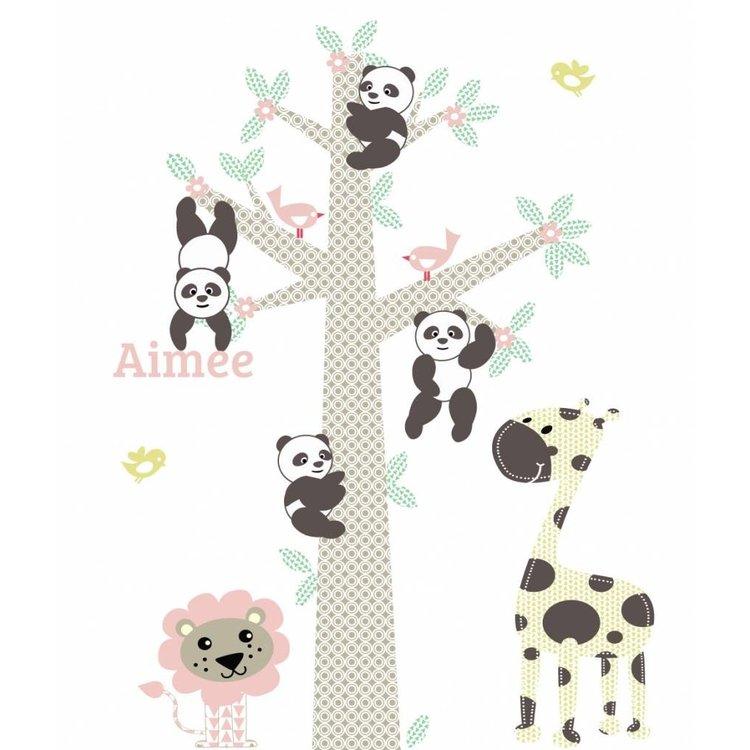 Daring Walls Muursticker Boom Panda's pink met naam