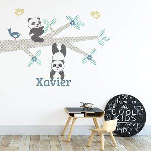 Daring Walls Muursticker Tak Panda's blue met naam