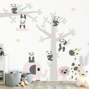 Daring Walls Muursticker Boom & tak Panda's pink met naam