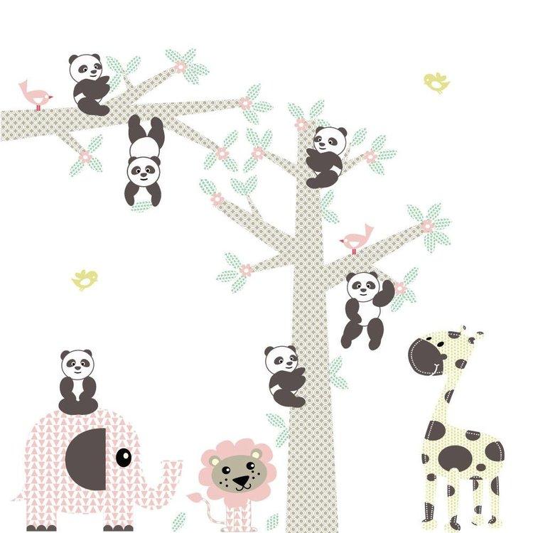 Daring Walls Muursticker Boom & tak Panda's pink
