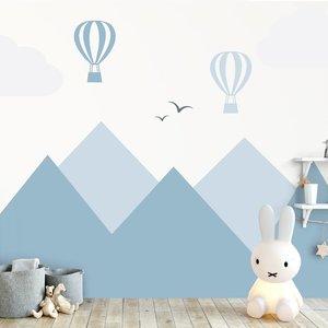 Daring Walls Muursticker Bergen en luchtballonnen blue