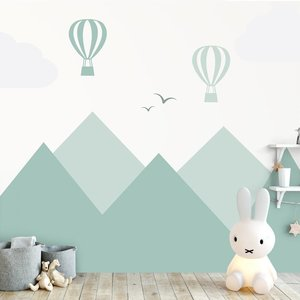 Daring Walls Wall Sticker Mountains and green balloons