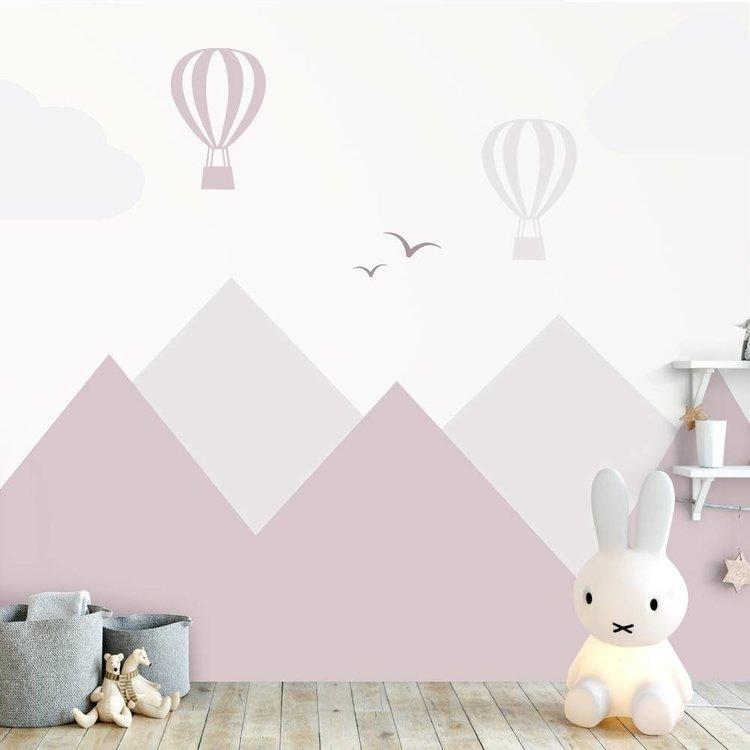 Daring Walls Muursticker Bergen en luchtballonnen pink