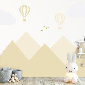 Daring Walls Muursticker Bergen en luchtballonnen yellow