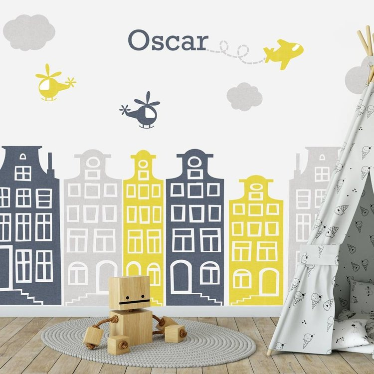 Daring Walls Muursticker Huisjes en vliegtuigen grijs - geel met naam