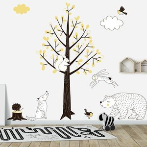 Daring Walls Muursticker Boom Forest yellow