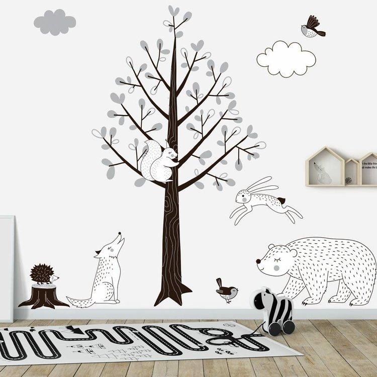 Daring Walls Muursticker Boom Forest grey
