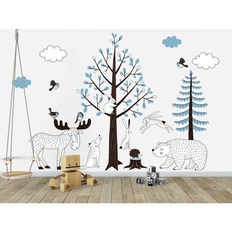Daring Walls Muursticker Bomen set Forest blue