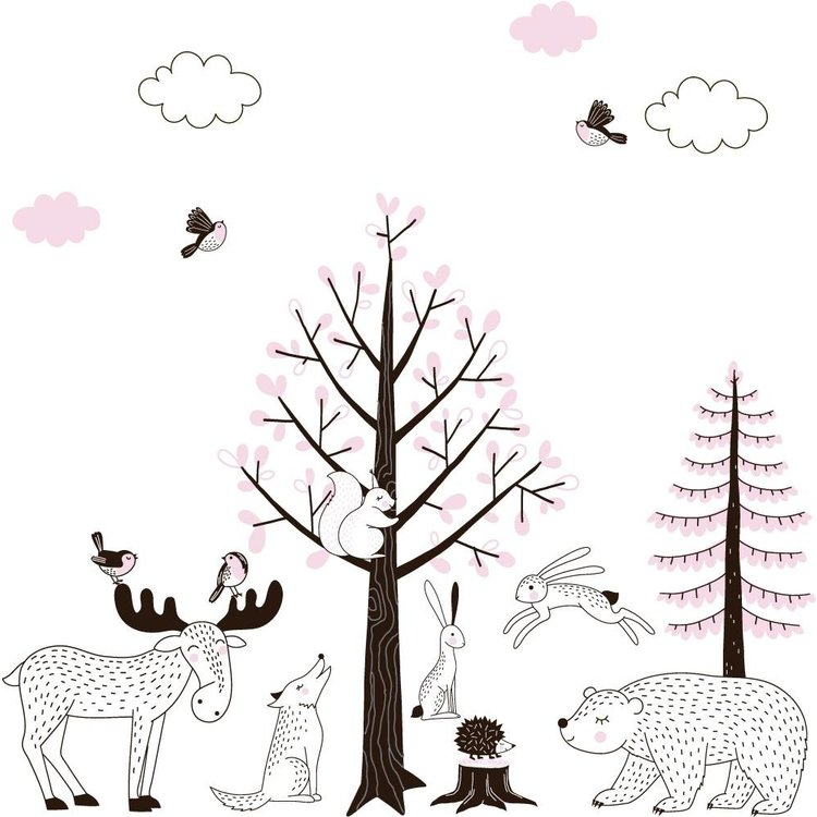 Daring Walls Muursticker Bomen set Forest pink