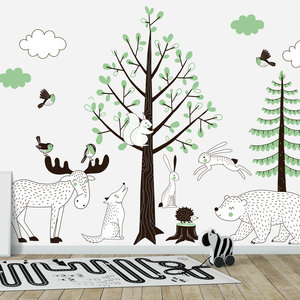 Daring Walls Muursticker Bomen set Forest green