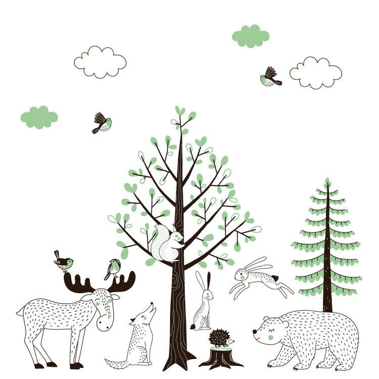 Daring Walls Muursticker Bomen set Forest green