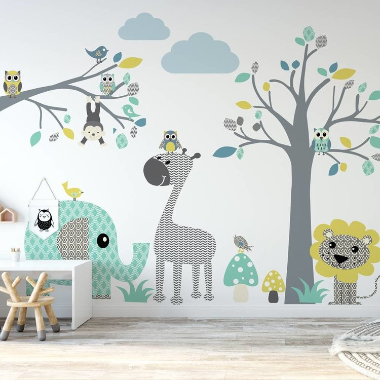Daring Walls Muursticker Boom + Tak safari blue