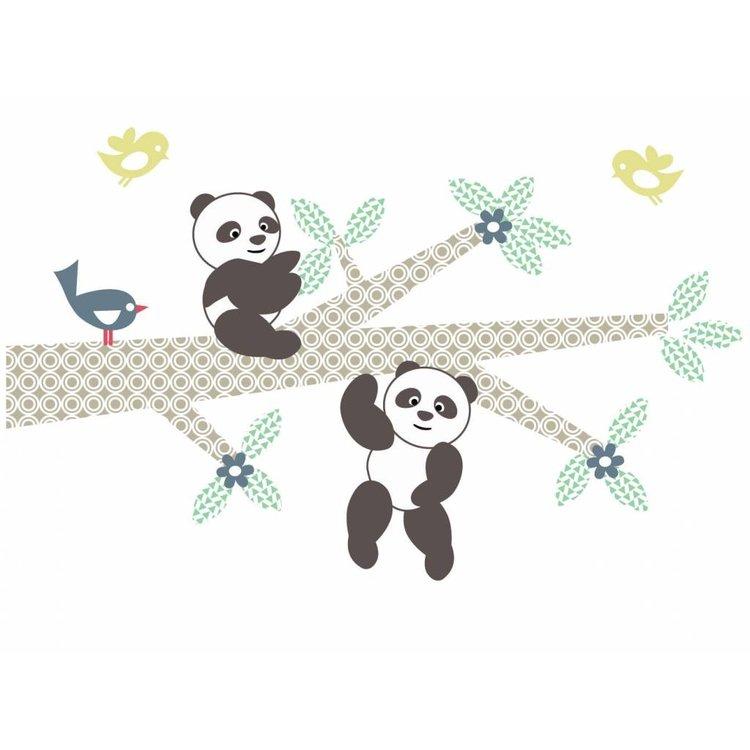Daring Walls Muursticker Tak Panda's blue