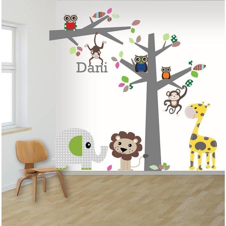 Daring Walls Muursticker boom en tak jungle multi met naam