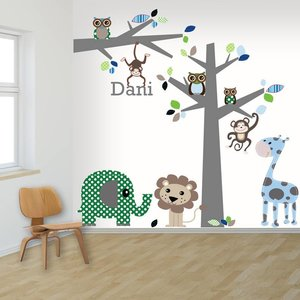 Daring Walls Muursticker boom en tak jungle blue met naam