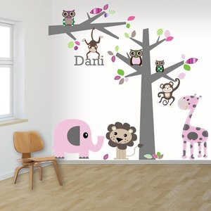 Daring Walls Muursticker boom en tak jungle pink met naam