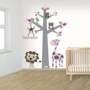 Daring Walls Muursticker boom jungle pink met naam