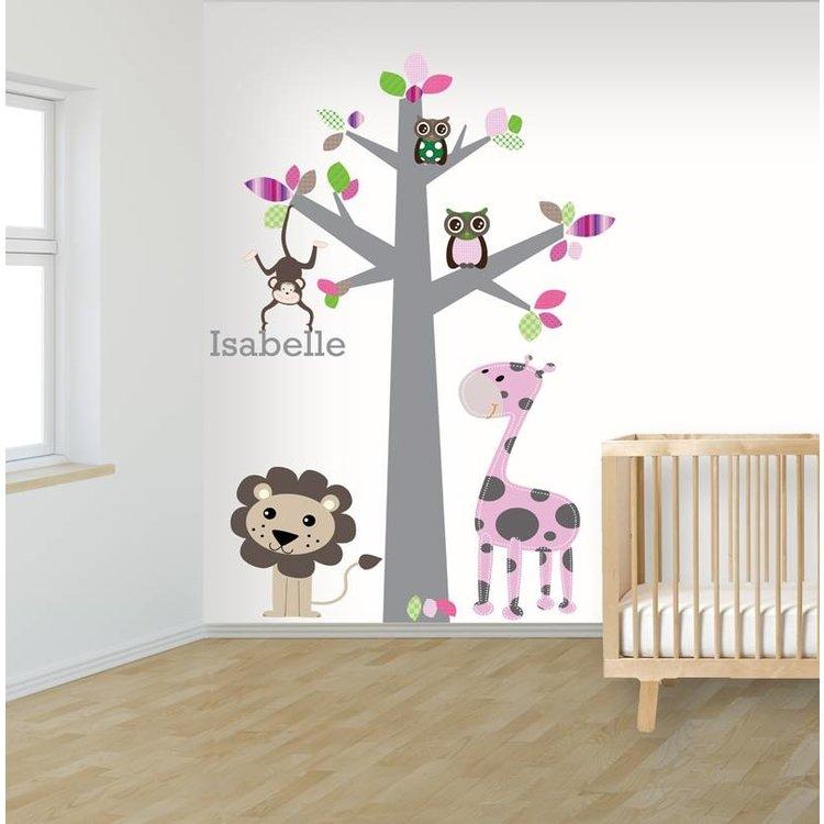 Daring Walls Muursticker boom jungle pink met naam