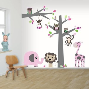 Daring Walls Muursticker Boom + tak Jungle pink