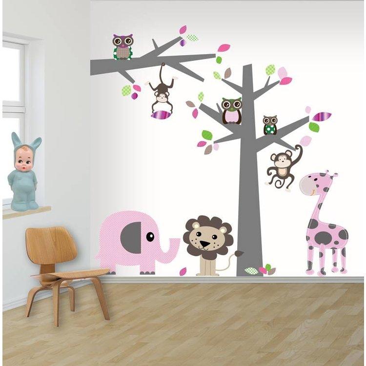 Daring Walls Muursticker Boom + tak Jungle pink