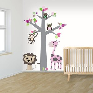Daring Walls Muursticker Boom Jungle pink