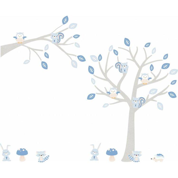 Daring Walls Muursticker Boom & Tak Woodland blue