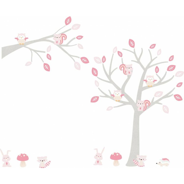 Daring Walls Muursticker Boom & Tak Woodland pink