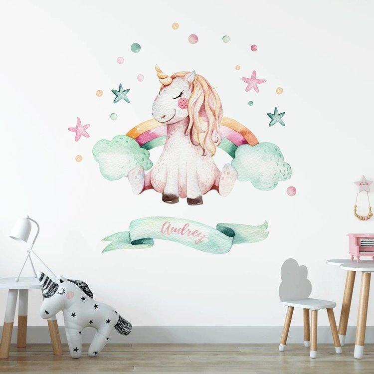 Daring Walls Muursticker Unicorn 1 met naam