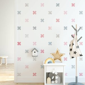 Daring Walls Muursticker Watercolor Confetti Crosses pink