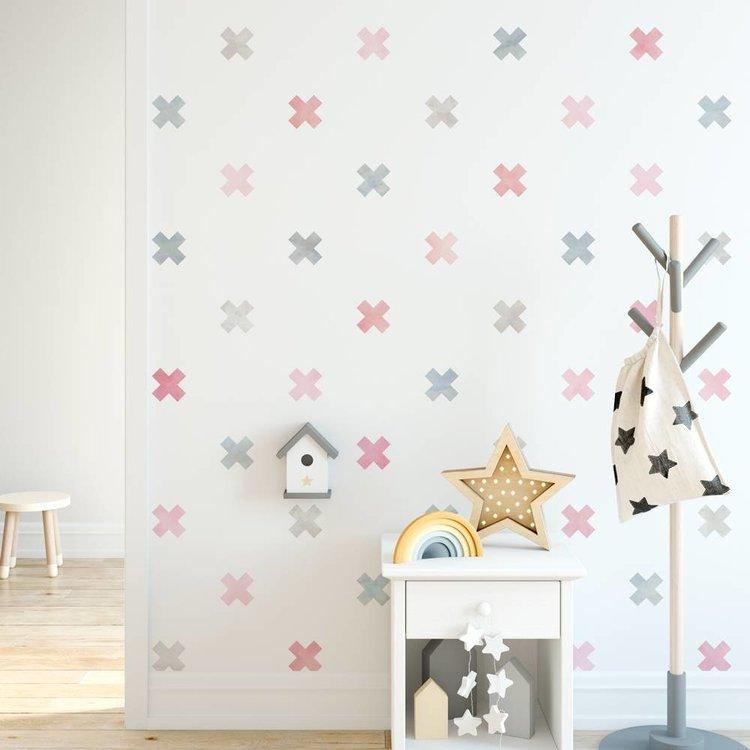 Daring Walls Muursticker Watercolor Confetti Crosses pink
