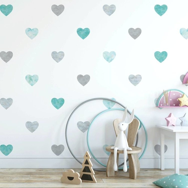 Daring Walls Muursticker Watercolor Confetti Hearts mint