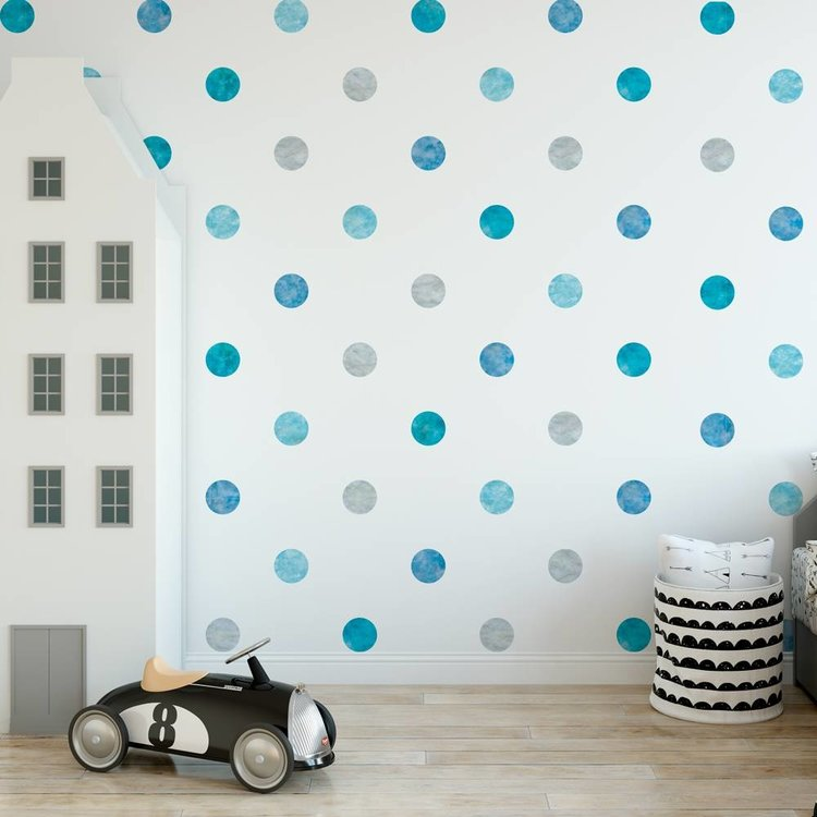 Daring Walls Muursticker Watercolor Confetti Dots blue