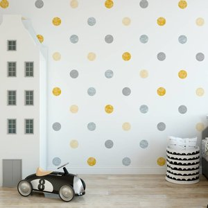 Daring Walls Muursticker Watercolor Confetti Dots yellow