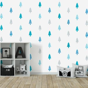 Daring Walls Muursticker Watercolor Confetti Trees blue