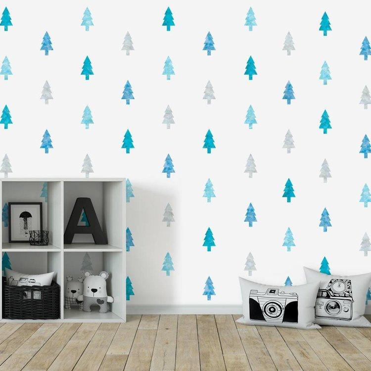 Daring Walls Muursticker Watercolor Confetti Trees blue