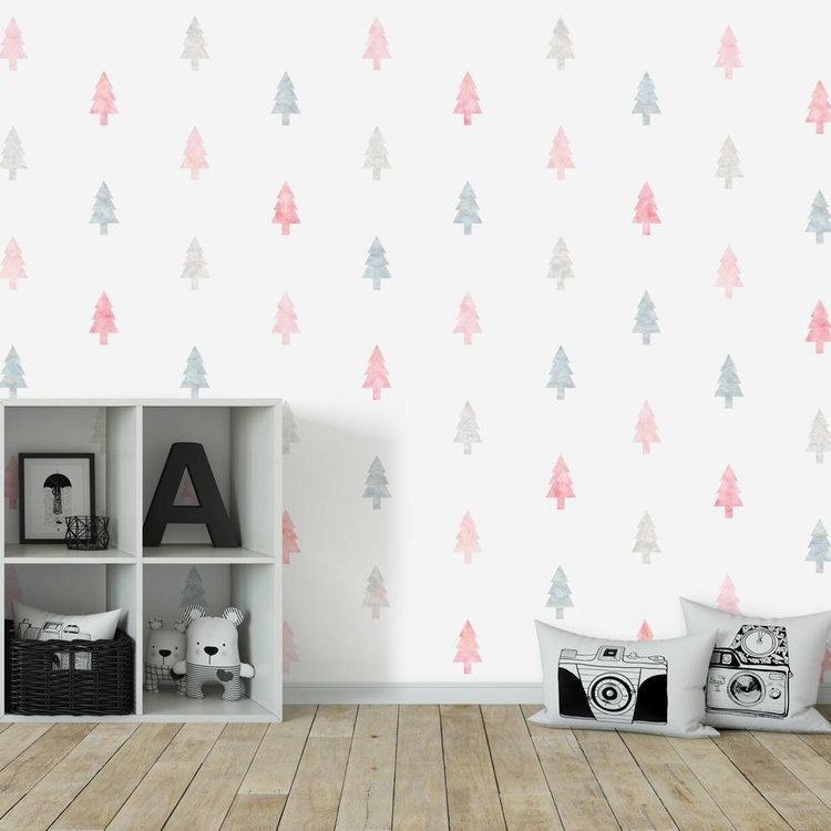 Daring Walls Muursticker Watercolor Confetti Trees pink
