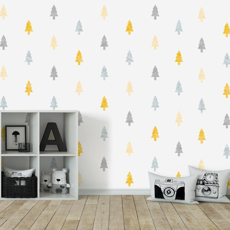 Daring Walls Muursticker Watercolor Confetti Trees yellow