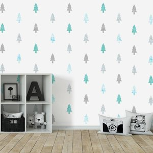 Daring Walls Muursticker Watercolor Confetti Trees mint