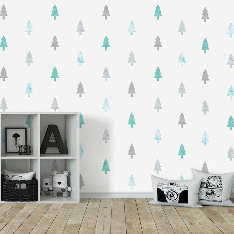Daring Walls Muursticker Watercolor Confetti Trees mint