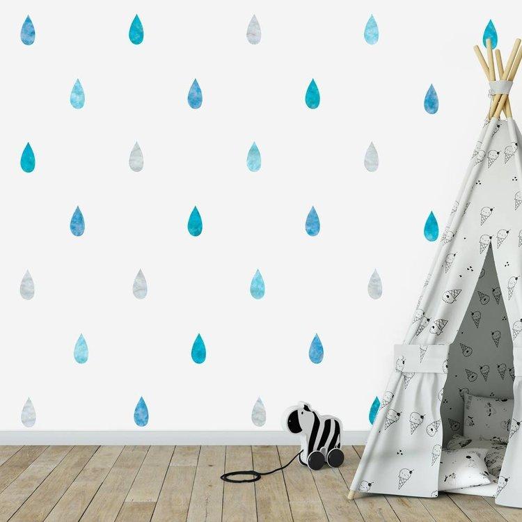 Daring Walls Muursticker Watercolor Confetti Drops blue