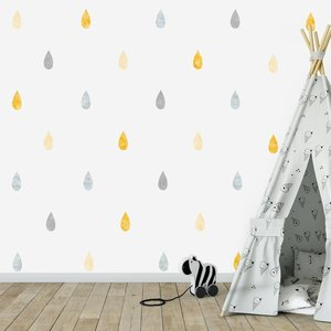 Daring Walls Muursticker Watercolor Confetti Drops yellow