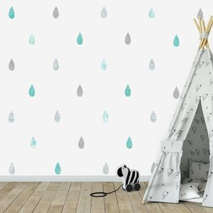 Daring Walls Muursticker Watercolor Confetti Drops mint